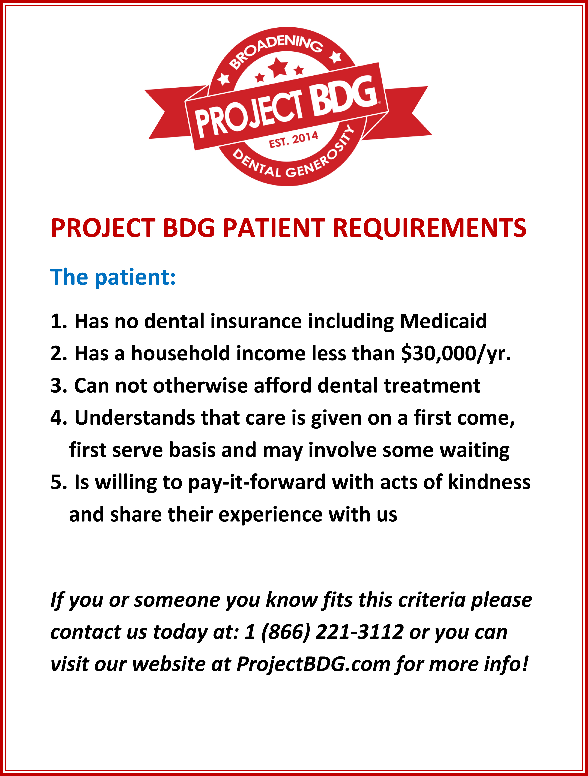 PROJECT BDG PATIENT REQUIREMENTS